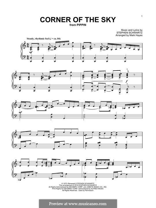 Corner of the Sky (from Pippin): Für Klavier by Stephen Schwartz