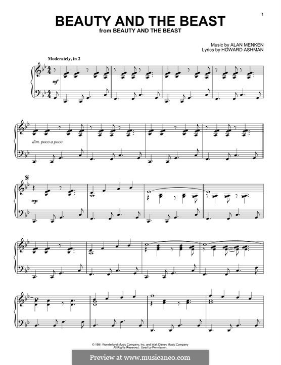 Beauty and The Beast, for Piano: Easy version by Alan Menken