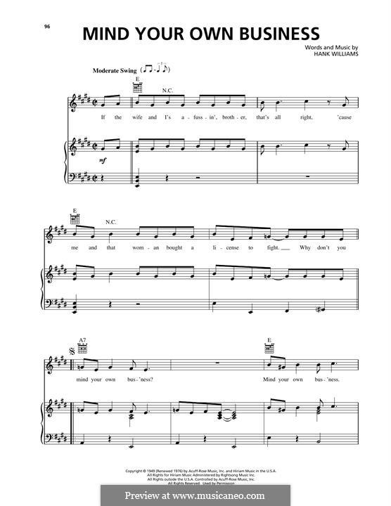 Mind Your Own Business: Für Stimme und Klavier (oder Gitarre) by Hank Williams