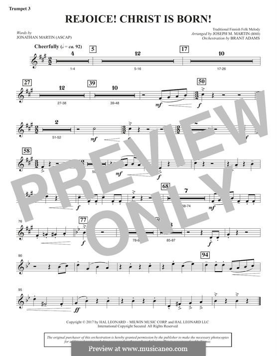 Rejoice! Christ Is Born! (arr. Brant Adams): Bb Trumpet 3 part by folklore