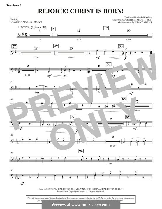 Rejoice! Christ Is Born! (arr. Brant Adams): Trombone 2 part by folklore