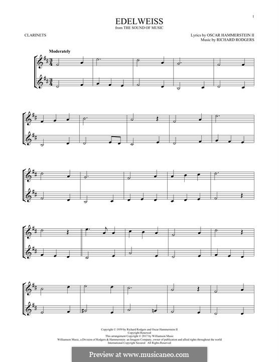 Edelweiss (from The Sound of Music): Für zwei Klarinetten by Richard Rodgers