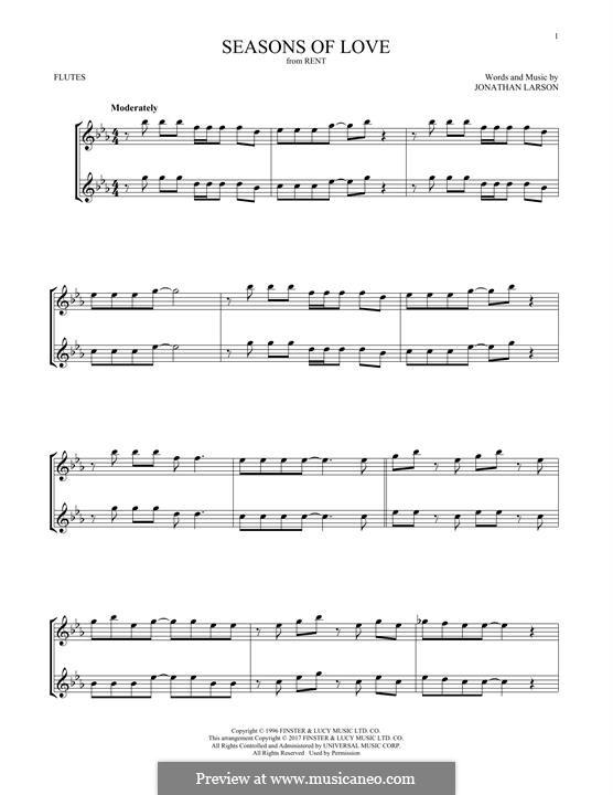 Seasons of Love (from Rent): Für zwei Flöten by Jonathan Larson
