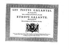 Les fêstes galantes: Soprano I part by Henri Desmarets