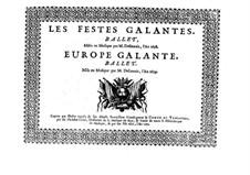 Les fêstes galantes: Basso continuo part by Henri Desmarets