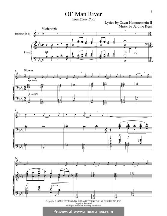 Ol' Man River (from Show Boat): For trumpet and piano by Jerome Kern