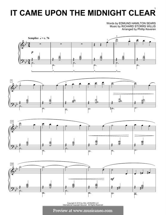 It Came upon the Midnight Clear, for Piano: Classical version by Richard Storrs Willis