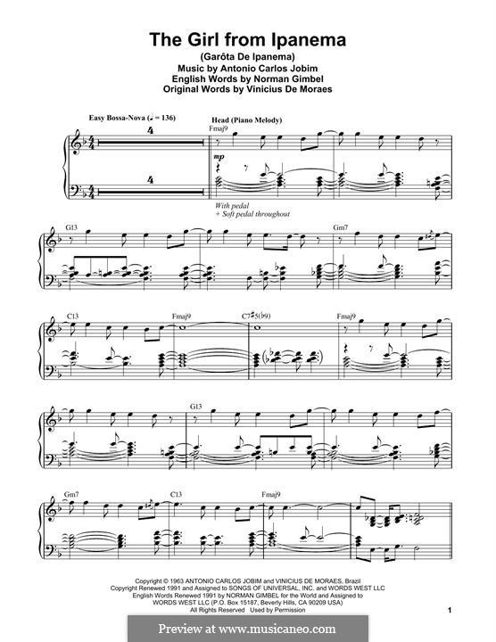 The Girl from Ipanema (Garota de Ipanema), for Piano: Für einen Interpreten by Antonio Carlos Jobim