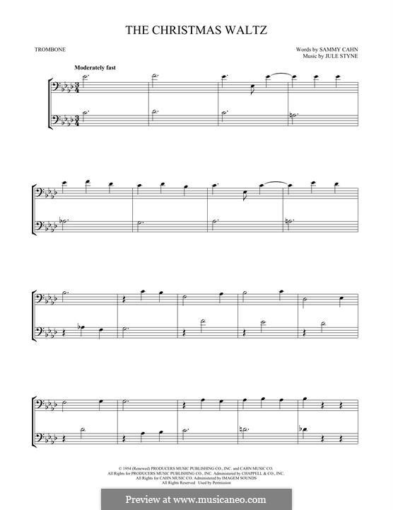 The Christmas Waltz: For two trombones by Jule Styne