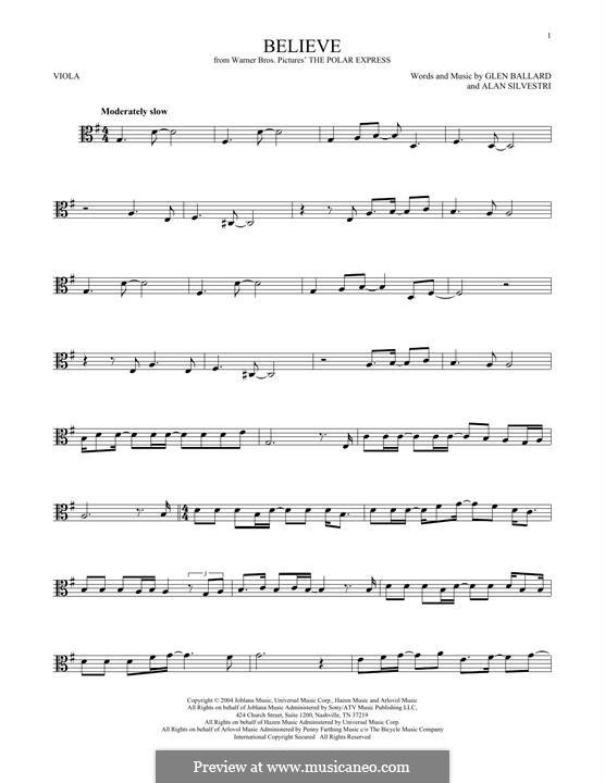 Believe (Josh Groban): For viola by Alan Silvestri, Glen Ballard