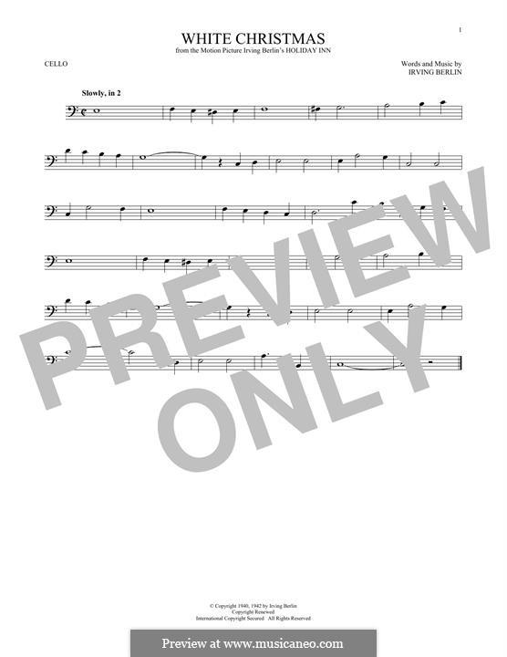 White Christmas. Instrumental version: Für Cello by Irving Berlin