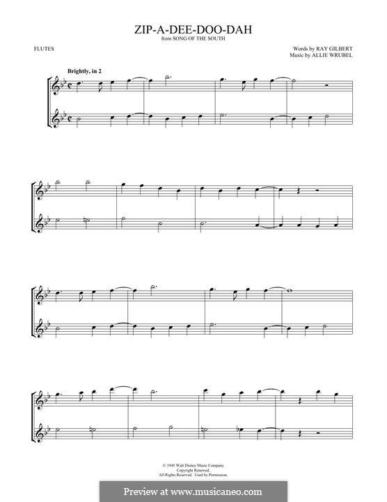 Zip-A-Dee-Doo-Dah: Für zwei Flöten by Allie Wrubel