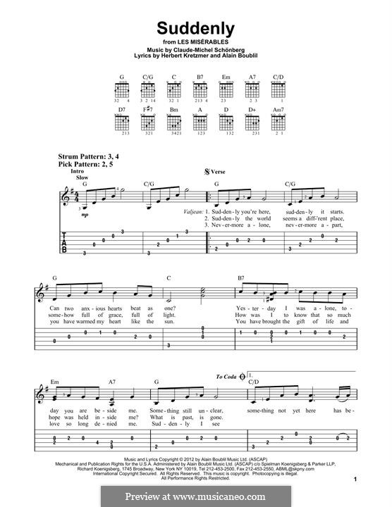 Suddenly: Für Gitarre by Claude-Michel Schönberg