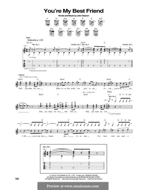 You're My Best Friend (Queen): Für Gitarre mit Tabulatur by John Deacon