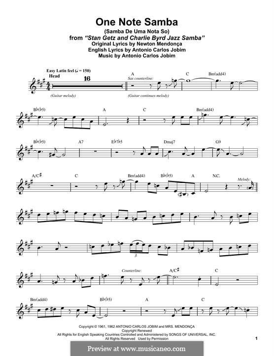 One Note Samba (Samba De Uma Nota): Für Altsaxophon by Antonio Carlos Jobim