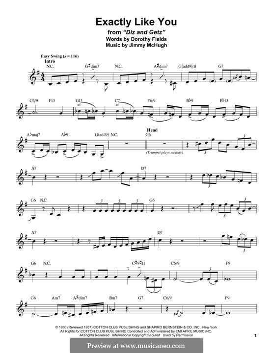 Exactly Like You: Für Altsaxophon by Jimmy McHugh