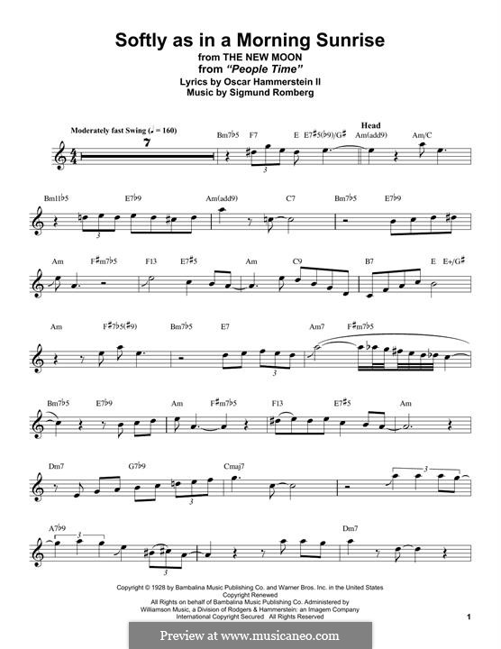 Softly as in a Morning Sunrise: Für Altsaxophon by Sigmund Romberg