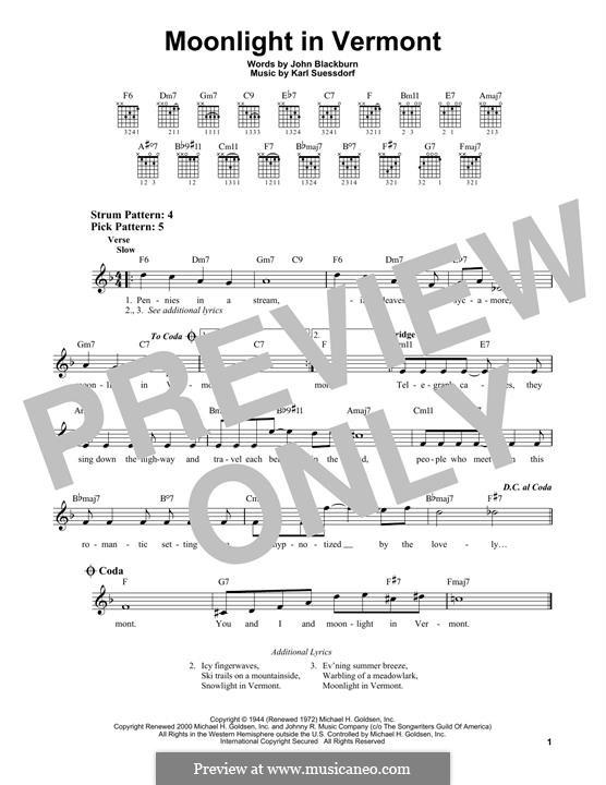 Moonlight in Vermont (Frank Sinatra): Für Gitarre by Karl Suessdorf