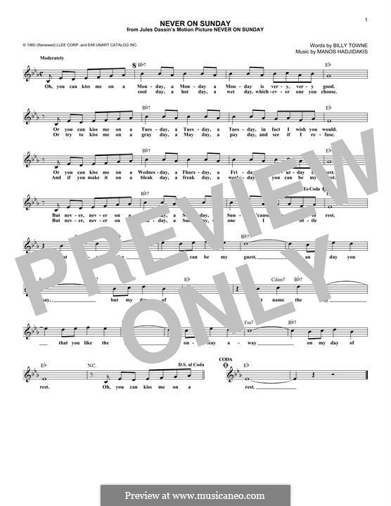 Never on Sunday: Für Keyboard by Manos Hadjidakis