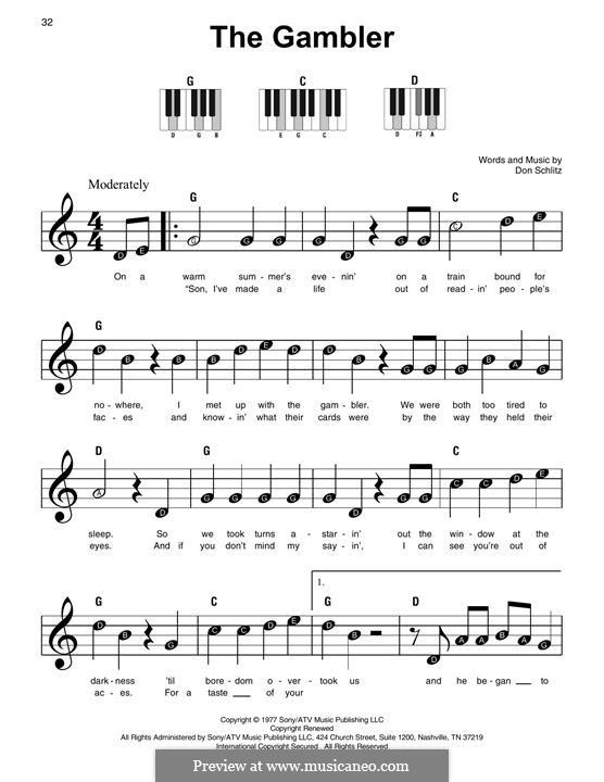 The Gambler (Kenny Rogers): Für Klavier by Don Schlitz
