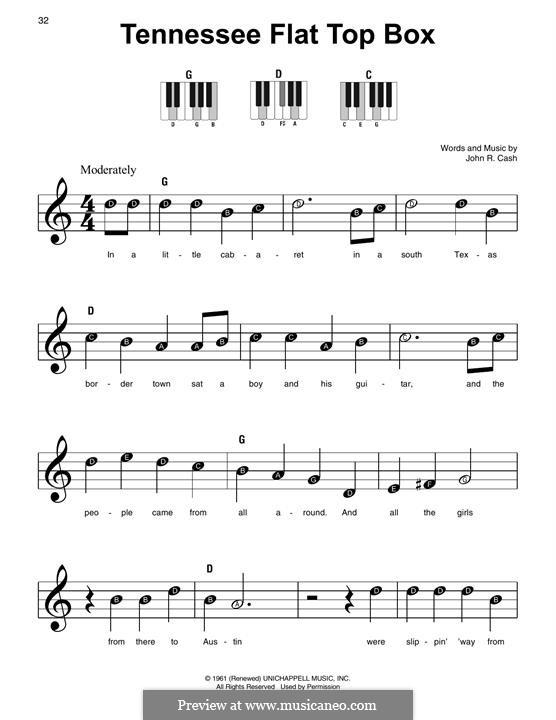 Tennessee Flat Top Box: Für Klavier by Johnny Cash