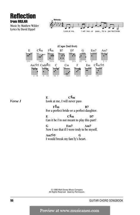 Reflection (from Disney's Mulan): Für Gitarre by Matthew Wilder