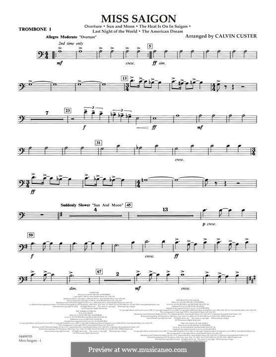 Miss Saigon: Trombone 1 part by Claude-Michel Schönberg