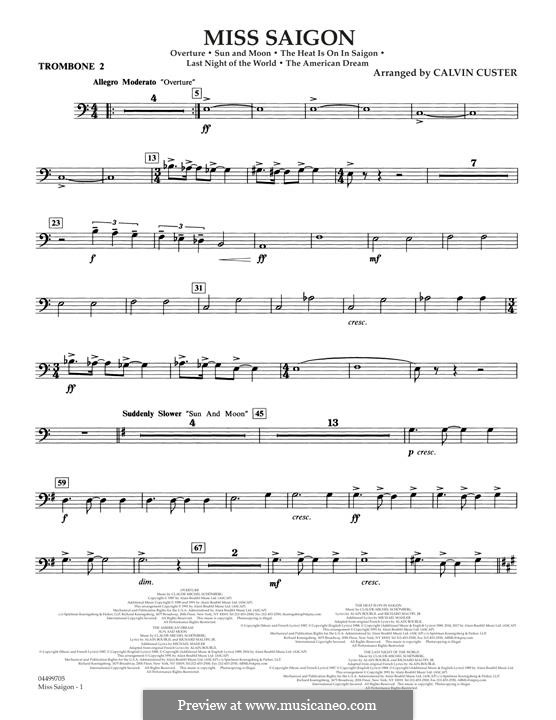 Miss Saigon: Trombone 2 part by Claude-Michel Schönberg