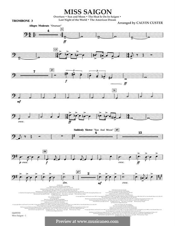 Miss Saigon: Trombone 3 part by Claude-Michel Schönberg