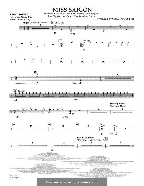 Miss Saigon: Percussion 2 part by Claude-Michel Schönberg