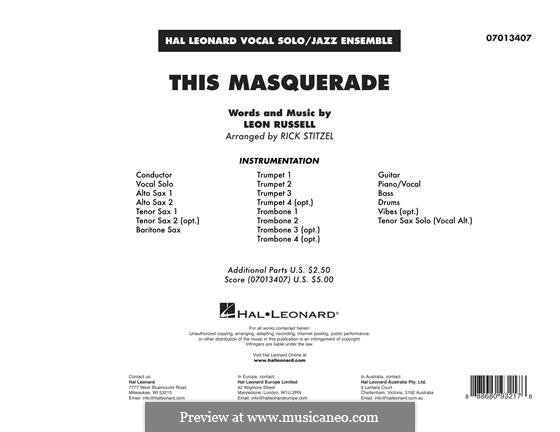 This Masquerade: Vollpartitur by Leon Russell