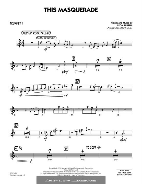 This Masquerade: Trumpet 1 part by Leon Russell