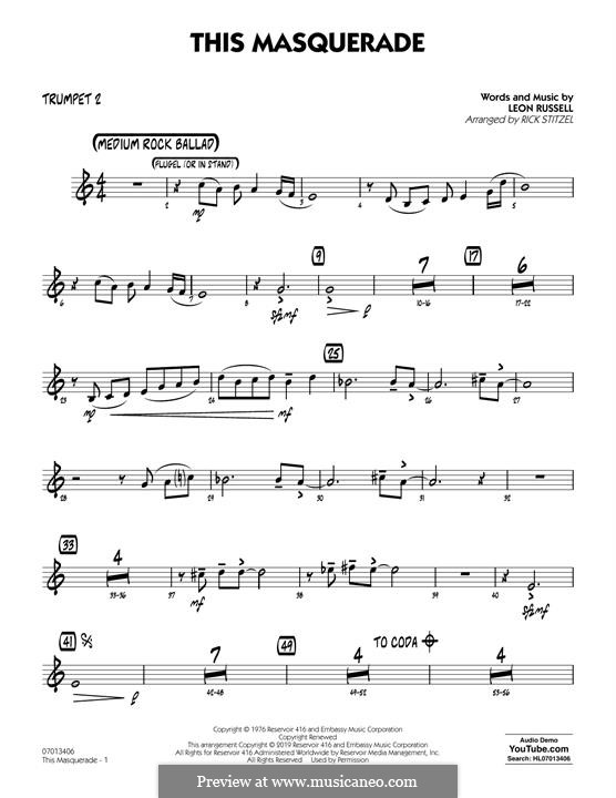 This Masquerade: Trumpet 2 part by Leon Russell