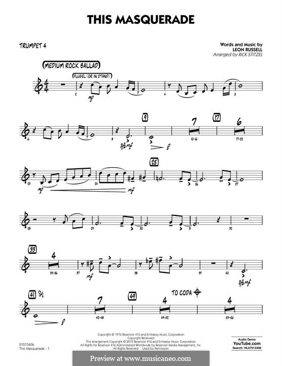 This Masquerade: Trumpet 4 part by Leon Russell