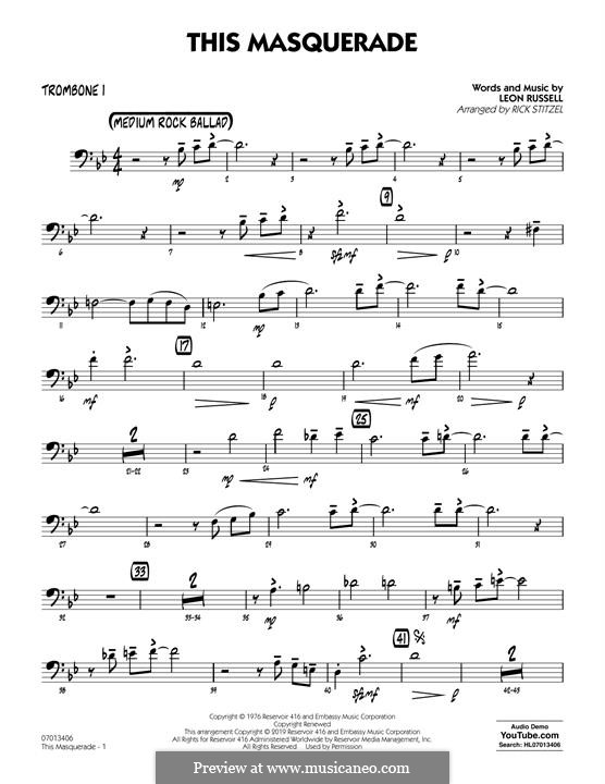This Masquerade: Trombone 1 part by Leon Russell