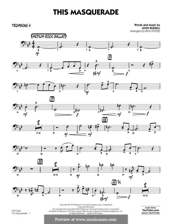 This Masquerade: Trombone 4 part by Leon Russell