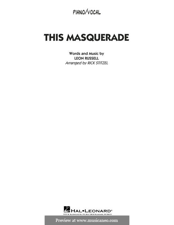This Masquerade: Piano/Vocal part by Leon Russell