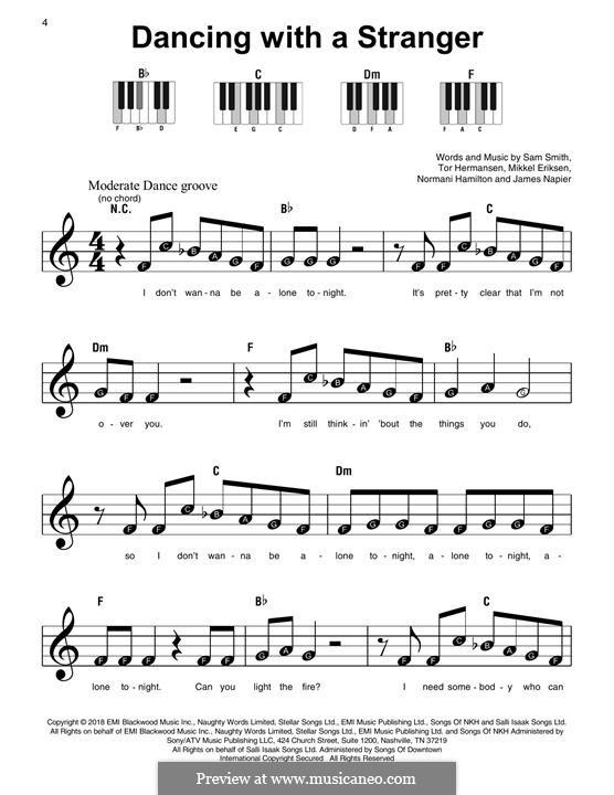 Dancing with a Stranger (Sam Smith & Normani): Für Klavier, leicht by Mikkel Storleer Eriksen, Samuel Smith, Tor Erik Hermansen, James Napier, Normani Hamilton