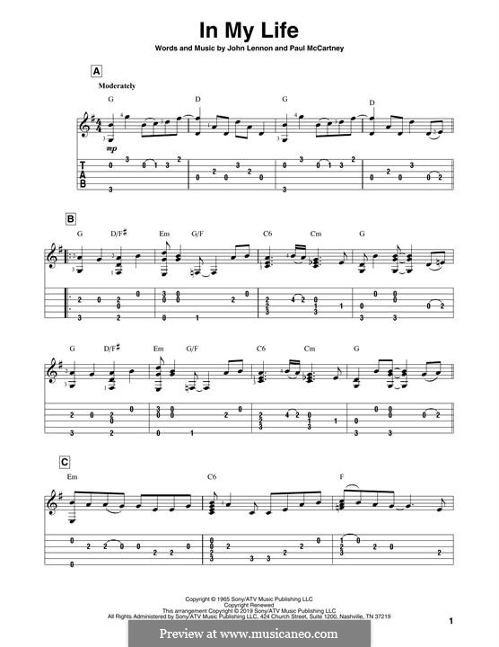 In My Life (The Beatles): Für Gitarre by John Lennon, Paul McCartney