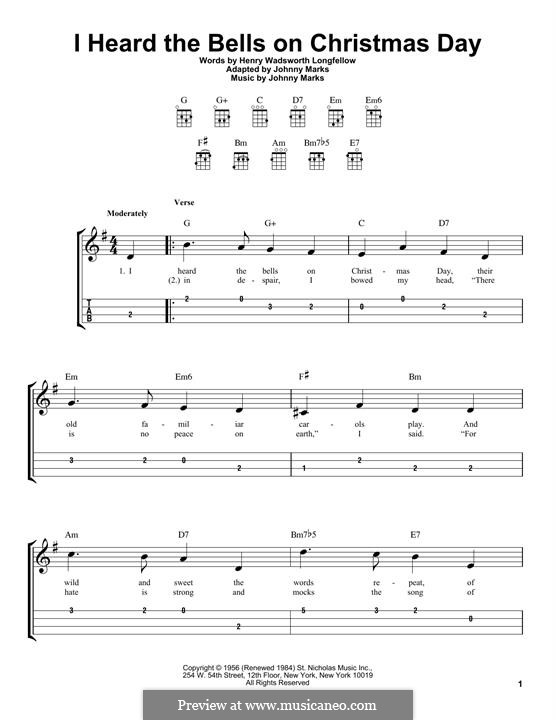 I Heard the Bells on Christmas Day: Für Ukulele by Johnny Marks