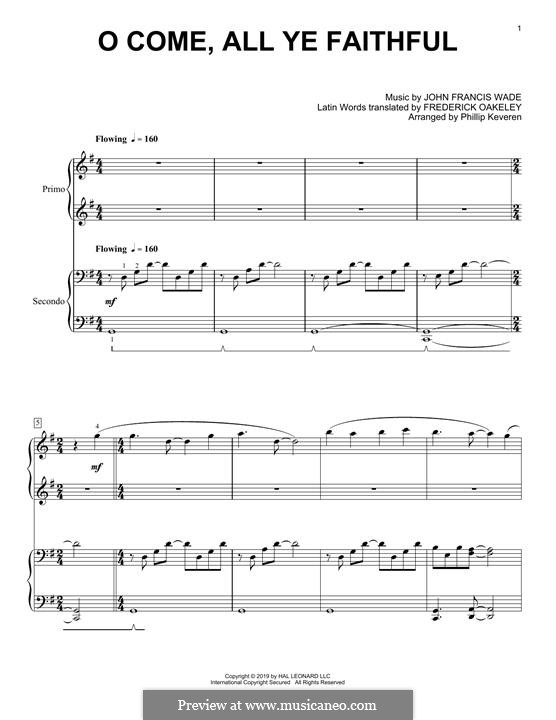 Piano version: For four hands by John Francis Wade