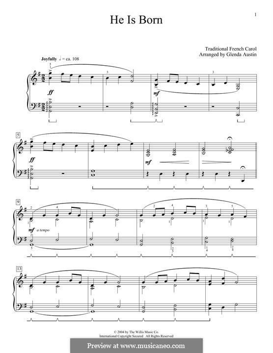 He Is Born, the Holy Child (Il est ne, le divin enfant): Für Klavier by folklore