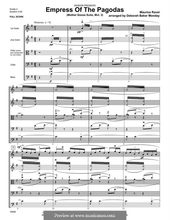 Meine Mutter die Gans. Suite, M.60: Empress of The Pagodas, for strings – full score by Maurice Ravel