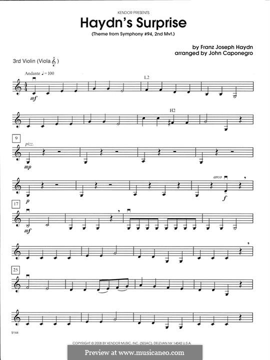 Teil II: Theme, for strings - Violin 3 (Viola T.C.) part by Joseph Haydn