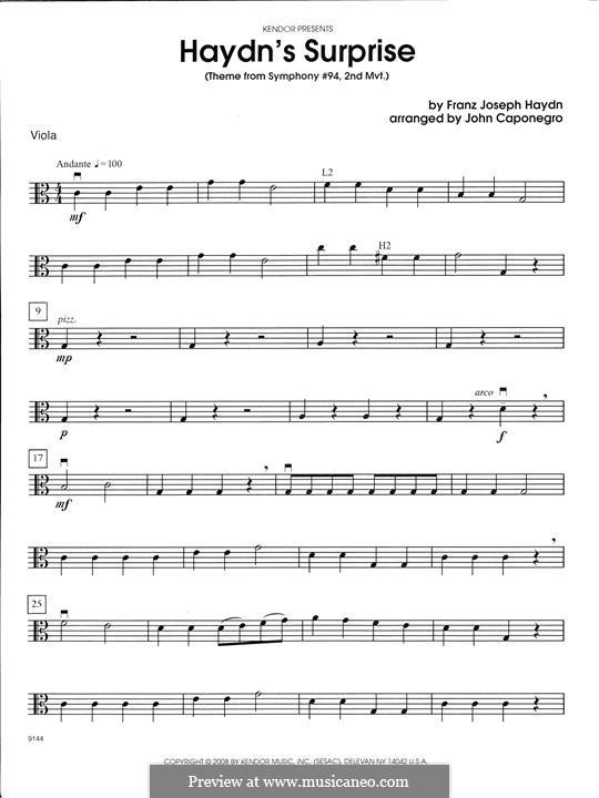 Teil II: Theme, for strings - Viola part by Joseph Haydn