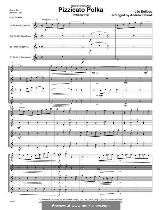 Sylvia: Pizzicato Polka, for quartet saxophones – full score by Léo Delibes