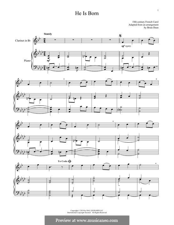 He Is Born, the Holy Child (Il est ne, le divin enfant): Für Klarinette und Klavier by folklore