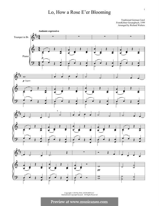Lo, How a Rose E'er Blooming: For trumpet and piano by folklore