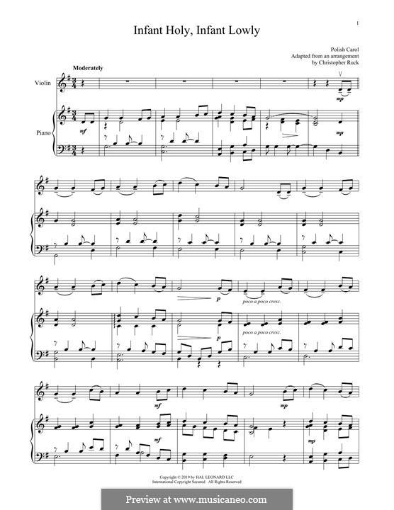 Infant Holy, Infant Lowly: Für Violine und Klavier by folklore