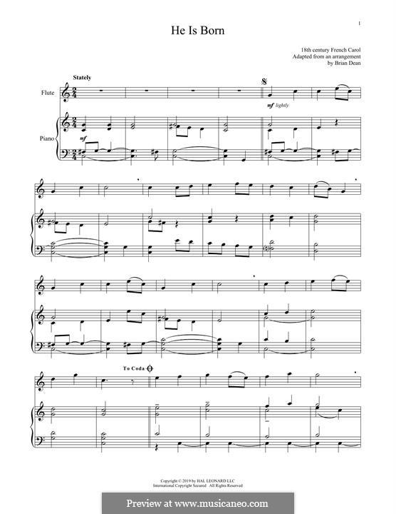 He Is Born, the Holy Child (Il est ne, le divin enfant): Für Flöte und Piano by folklore